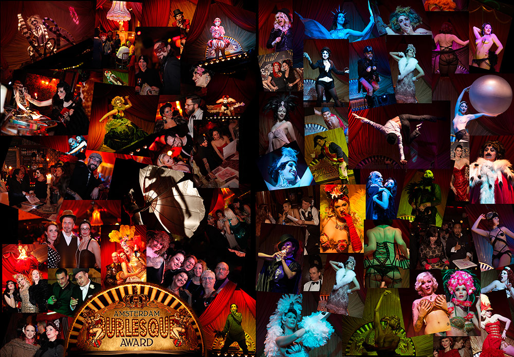 The Amsterdam Burlesque Award - 17-20 november 2016: Thursday - Boylesque Night - Crowning the first Amsterdam King of Boylesque - Boylesque is the same as burlesque, simply that it is performed by a man instead of a woman. Far from being just about strippers clad in silver glittering nipple tassels and spangly jock-straps, male burlesque performers, j ust like burlesque performers, aren't just about the stripping. Although the removal of clothing and the tease are elements of it, many other stage and entertainment skills are required. Boylesquers, just like professional burlesque performers, are also trained (not to say extremely talented) musicians, singers, hoofers, magicians, fire-eaters, jugglers, comics, mimes, trapeze artists and so on... Friday  Neo Burlesque and Comedy Burlesque Night - crowning the first Amsterdam Queen of Neo Burlesque - Neo Burlesque and Comedy Burlesque are based on the traditional Burlesque art, but this form encompasses a wider range of performance styles; Neo-burlesque acts can be anything from modern dance to theatrical mini-dramas to comedic mayhem. It can be freaky, bizarre, funny, weird, ridiculous, with sideshow elements and everything you can imagine... Saturday - Classic Burlesque Night and crowning the first Amsterdam Queen of Classic Burlesque - Burlesque is the style reminiscent of the the glamorous Burlesque Showgirls from the Golden age of American Burlesque. The girls who entertained the Burlesque theaters with their Va Va Voom stage shows. Classic Hollywood glamour, Las Vegas showgirl sparkle, Paris Moulin Rouge feeling...The Original peelers, who entertained an audience with dazzling costumes, exotic bump and grind, signature moves and true understanding of the Art of the Tease. Sunday Matinée Burlesque Showcase - no competition on Sunday, but a great Burlesqueshowcase and the official Amsterdam Burlesque Award closingsparty!